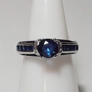 #617 Ring size 6 simulated diamond sapphire